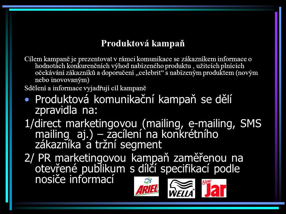 Produktová kampaň PR produktová kampaň se podle nosiče informací dělí na: 1/ venkovní ( megabordy, bilbordy, poutače, plakáty, stojanová informace, reklama na dopravních prostředcích a domech, chodící reklama, reklama na lavičkách, reklama na podlahách a schodech atd.) 2/ inzerce a PR texty v tiskových mediích3/ informace prezentované v rozhlase (phone marketing) 4/ informace prezentované v Televizi (Tv marketing) 5/ informace prezentované na videu a DVD (Video a DVD marketing) 6/ informace prezentované elektronickou formou (e-marketing)