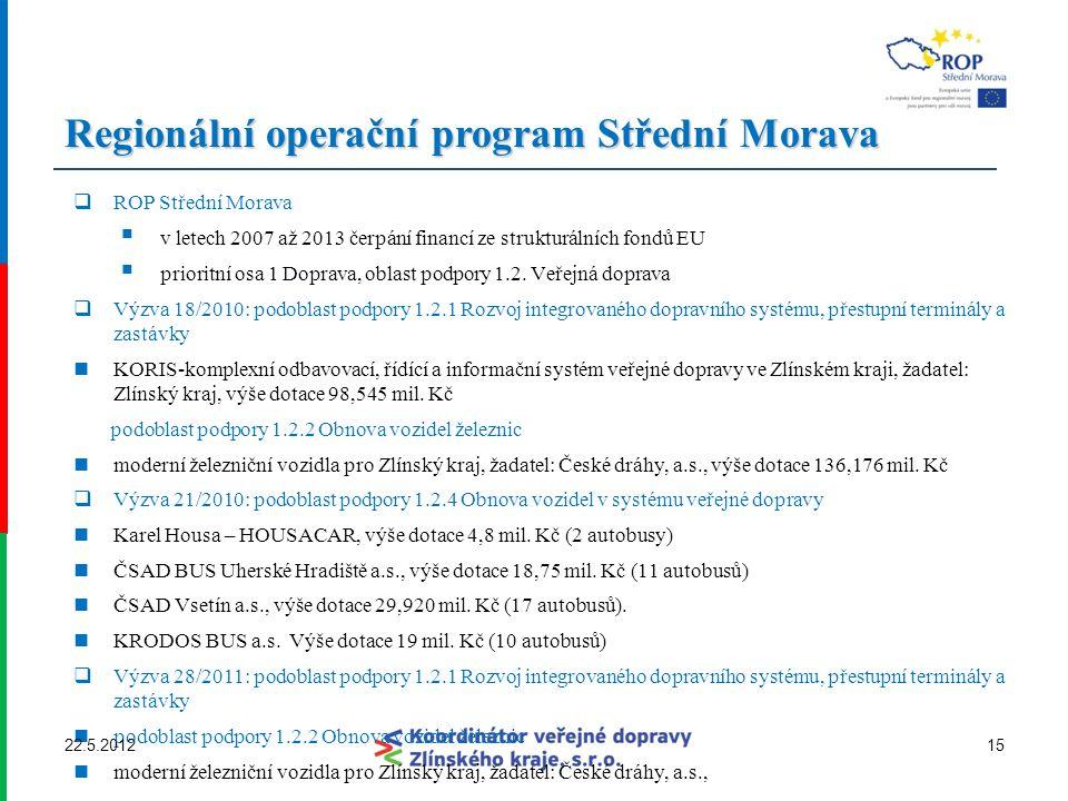 Regionální operační program Střední Morava  ROP Střední Morava  v letech 2007 až 2013 čerpání financí ze strukturálních fondů EU  prioritní osa 1 D