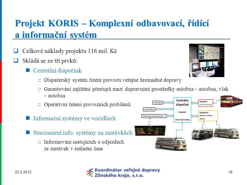 Projekt KORIS – Komplexní odbavovací, řídící a informační systém  Celkové náklady projektu 116 mil. Kč  Skládá se ze tří prvků: Centrální dispečink