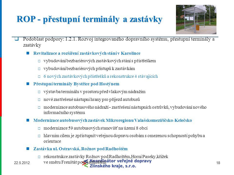 ROP - přestupní terminály a zastávky ROP - přestupní terminály a zastávky  Podoblast podpory: 1.2.1. Rozvoj integrovaného dopravního systému, přestup