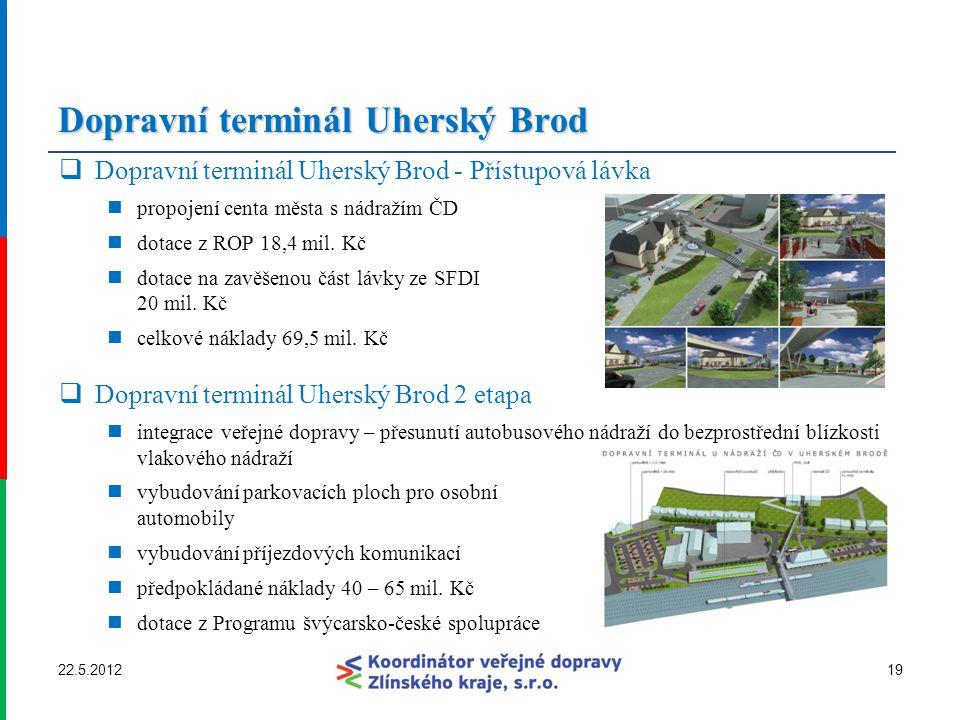 Dopravní terminál Uherský Brod  Dopravní terminál Uherský Brod - Přístupová lávka propojení centa města s nádražím ČD dotace z ROP 18,4 mil. Kč dotac