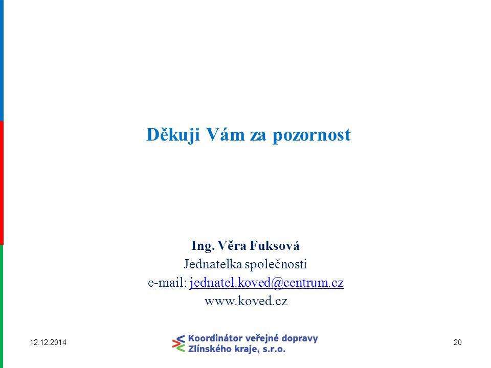 Děkuji Vám za pozornost Ing. Věra Fuksová Jednatelka společnosti e-mail: jednatel.koved@centrum.czjednatel.koved@centrum.cz www.koved.cz 12.12.201420