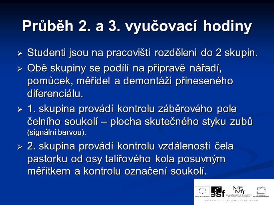 Průběh 2.a 3. vyučovací hodiny  Studenti jsou na pracovišti rozděleni do 2 skupin.