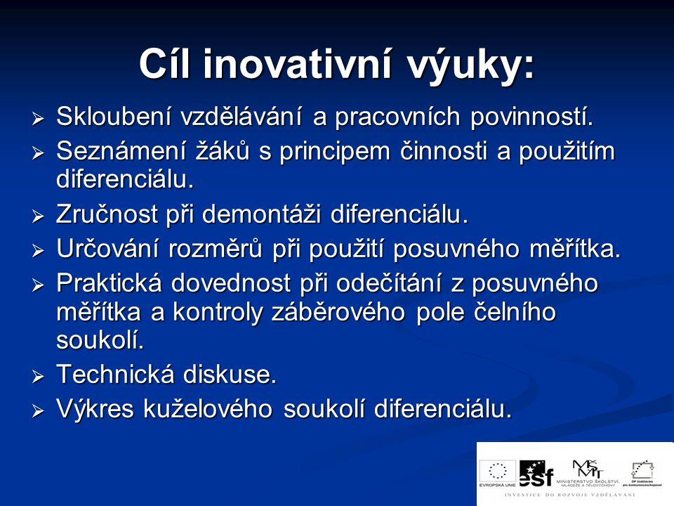 Cíl inovativní výuky:  Skloubení vzdělávání a pracovních povinností.  Seznámení žáků s principem činnosti a použitím diferenciálu.  Zručnost při de