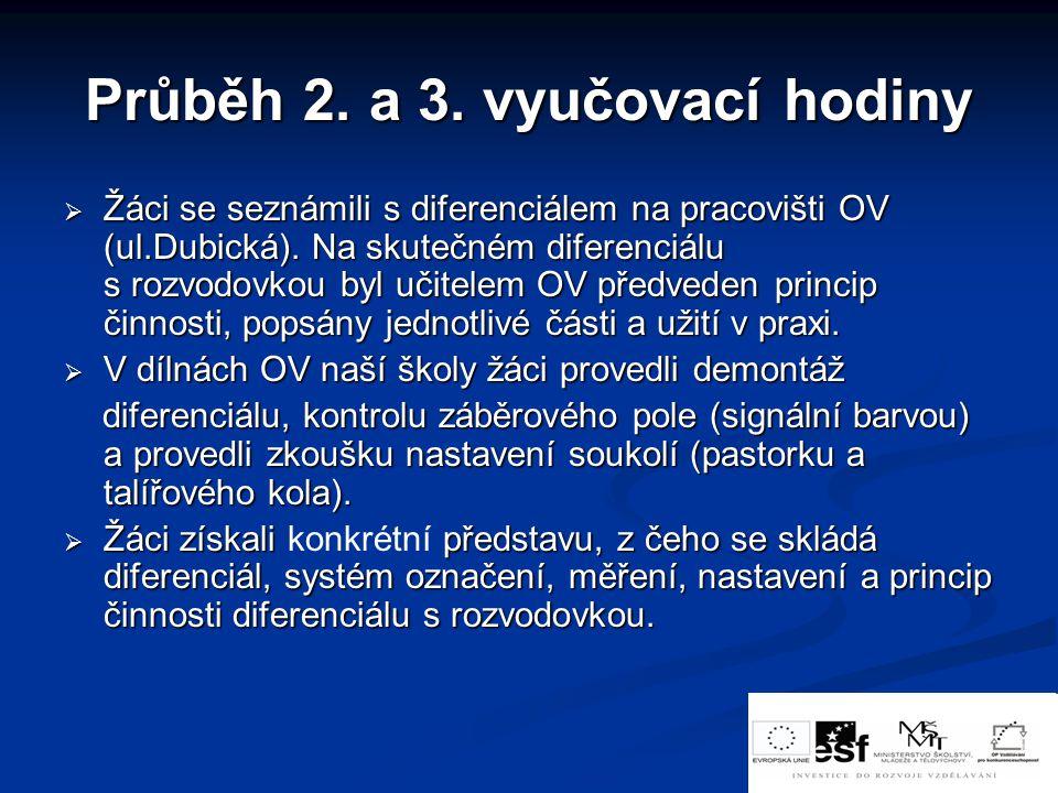 Průběh 2.a 3. vyučovací hodiny  Žáci se seznámili s diferenciálem na pracovišti OV (ul.Dubická).