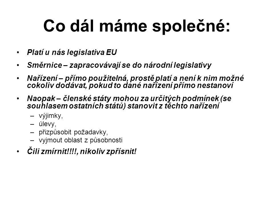 Co dál máme společné: Platí u nás legislativa EU Směrnice – zapracovávají se do národní legislativy Nařízení – přímo použitelná, prostě platí a není k