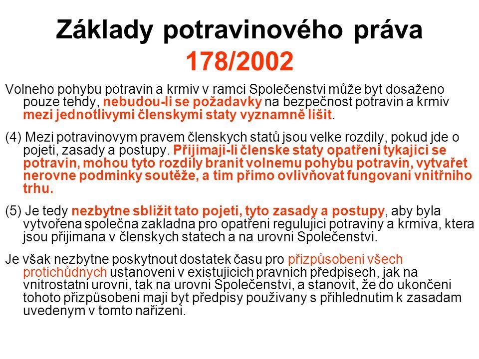 Základy potravinového práva 178/2002 Volneho pohybu potravin a krmiv v ramci Společenstvi může byt dosaženo pouze tehdy, nebudou-li se požadavky na be