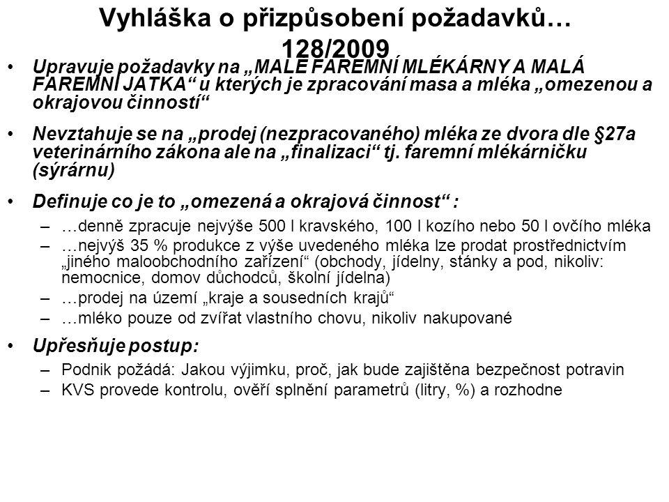 """Vyhláška o přizpůsobení požadavků… 128/2009 Upravuje požadavky na """"MALÉ FAREMNÍ MLÉKÁRNY A MALÁ FAREMNÍ JATKA"""" u kterých je zpracování masa a mléka """"o"""