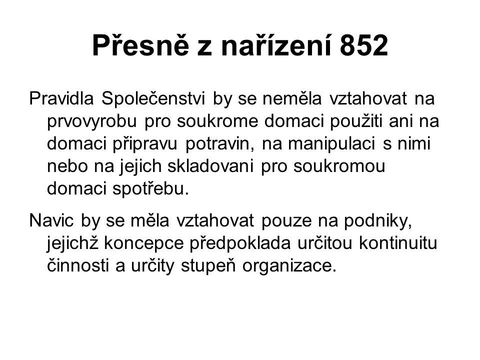 Přesně z nařízení 852 Pravidla Společenstvi by se neměla vztahovat na prvovyrobu pro soukrome domaci použiti ani na domaci připravu potravin, na manip