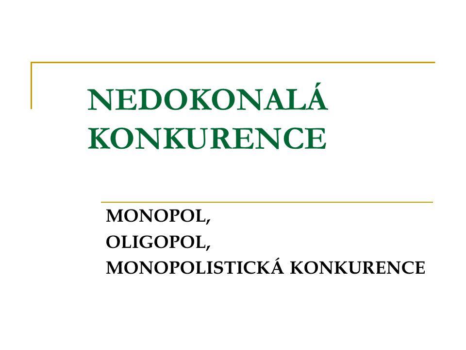 NEDOKONALÁ KONKURENCE MONOPOL, OLIGOPOL, MONOPOLISTICKÁ KONKURENCE