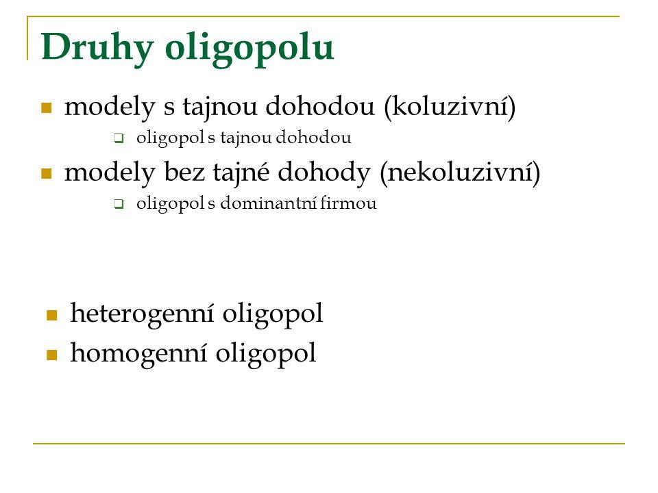 Druhy oligopolu modely s tajnou dohodou (koluzivní)  oligopol s tajnou dohodou modely bez tajné dohody (nekoluzivní)  oligopol s dominantní firmou heterogenní oligopol homogenní oligopol