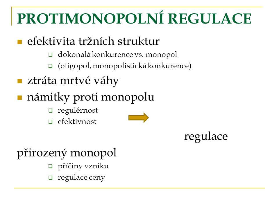 PROTIMONOPOLNÍ REGULACE efektivita tržních struktur  dokonalá konkurence vs.