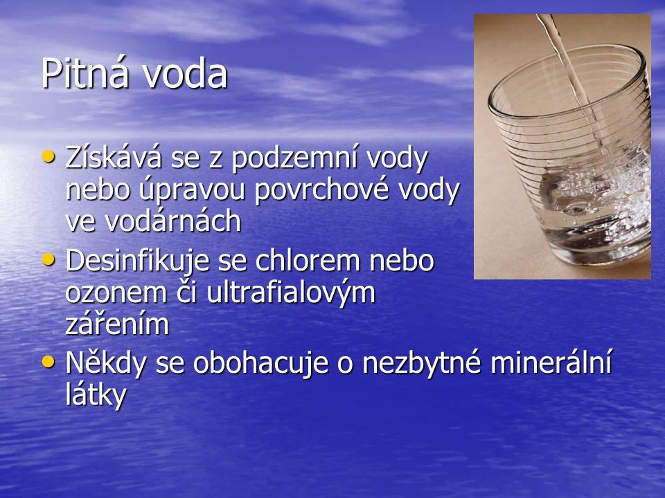 Užitková voda Čerpá se z podzemních i povrchových zdrojů Čerpá se z podzemních i povrchových zdrojů Používáme ji k mytí, koupání, praní a napájení zvířat Používáme ji k mytí, koupání, praní a napájení zvířat Nesmí se používat k pití, přípravě potravy a k mytí nádobí Nesmí se používat k pití, přípravě potravy a k mytí nádobí