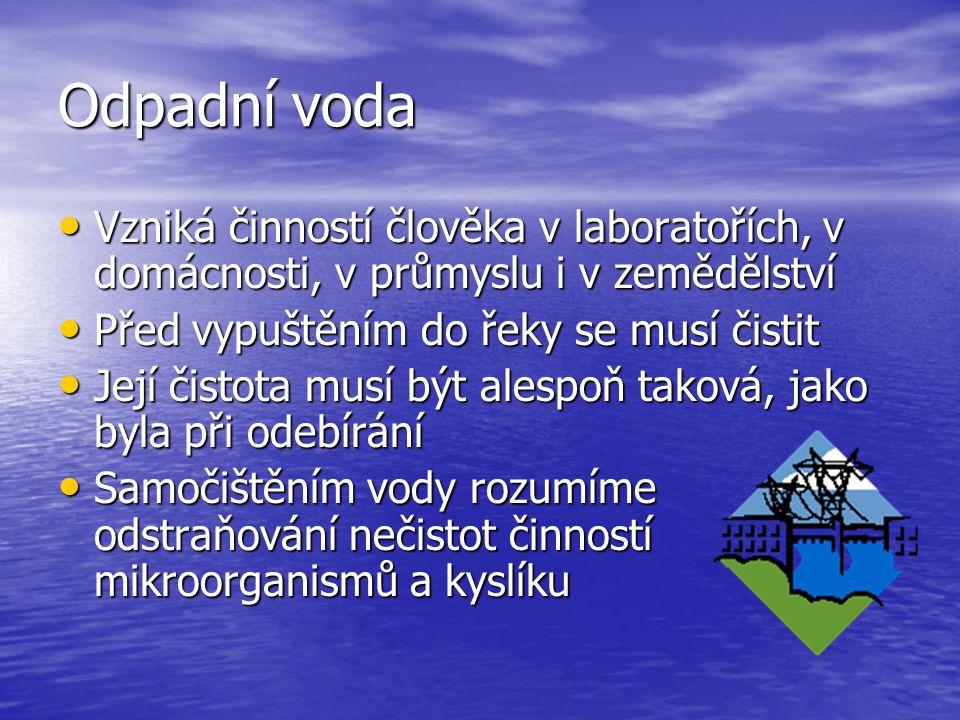 Odpadní voda Vzniká činností člověka v laboratořích, v domácnosti, v průmyslu i v zemědělství Vzniká činností člověka v laboratořích, v domácnosti, v