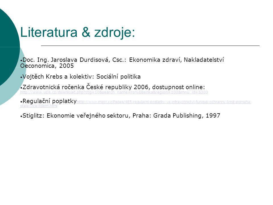Literatura & zdroje: Doc. Ing. Jaroslava Durdisová, Csc.: Ekonomika zdraví, Nakladatelství Oeconomica, 2005 Vojtěch Krebs a kolektiv: Sociální politik