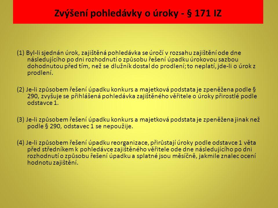 Zvýšení pohledávky o úroky - § 171 IZ (1) Byl-li sjednán úrok, zajištěná pohledávka se úročí v rozsahu zajištění ode dne následujícího po dni rozhodnu