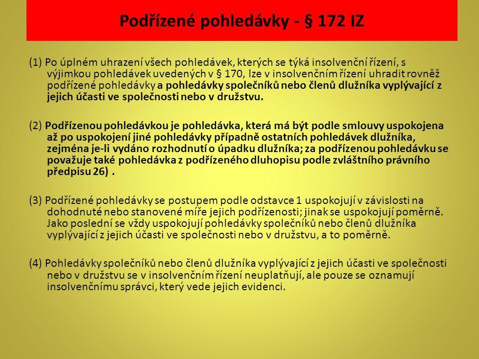 Podřízené pohledávky - § 172 IZ (1) Po úplném uhrazení všech pohledávek, kterých se týká insolvenční řízení, s výjimkou pohledávek uvedených v § 170,