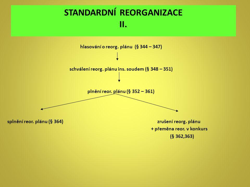 STANDARDNÍ REORGANIZACE II. hlasování o reorg. plánu (§ 344 – 347) schválení reorg. plánu ins. soudem (§ 348 – 351) plnění reor. plánu (§ 352 – 361) s