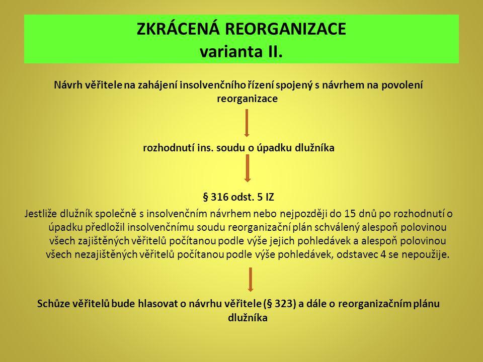 ZKRÁCENÁ REORGANIZACE varianta II. Návrh věřitele na zahájení insolvenčního řízení spojený s návrhem na povolení reorganizace rozhodnutí ins. soudu o