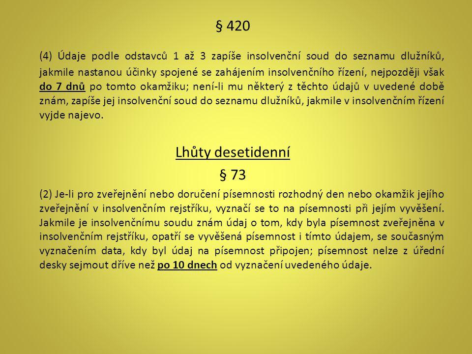 § 420 (4) Údaje podle odstavců 1 až 3 zapíše insolvenční soud do seznamu dlužníků, jakmile nastanou účinky spojené se zahájením insolvenčního řízení,