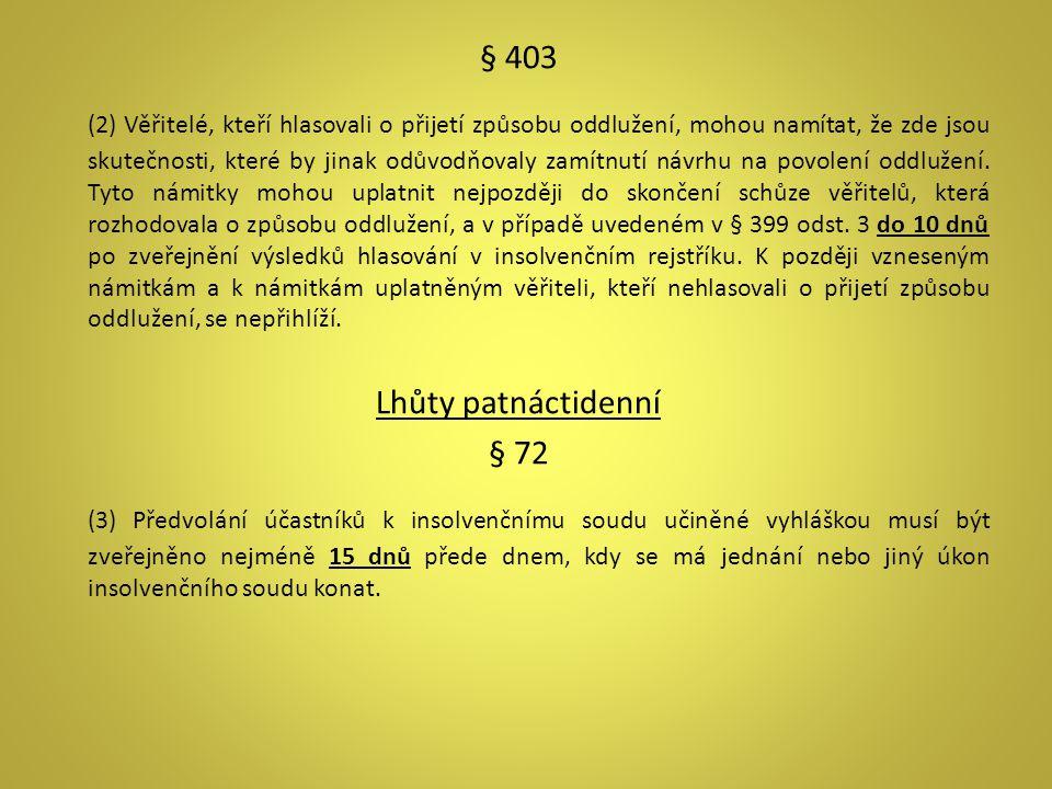 § 403 (2) Věřitelé, kteří hlasovali o přijetí způsobu oddlužení, mohou namítat, že zde jsou skutečnosti, které by jinak odůvodňovaly zamítnutí návrhu