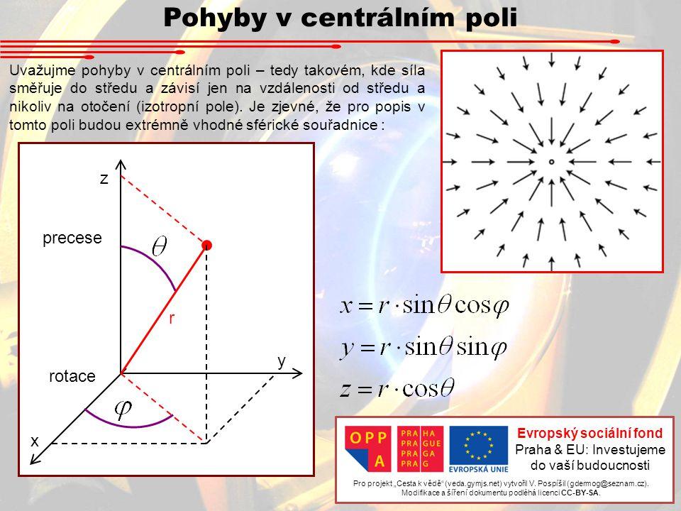 Pohyby v centrálním poli Uvažujme pohyby v centrálním poli – tedy takovém, kde síla směřuje do středu a závisí jen na vzdálenosti od středu a nikoliv