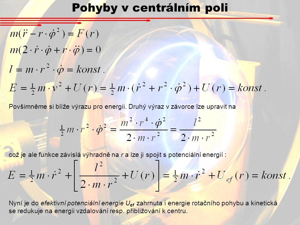 Pohyby v centrálním poli Povšimněme si blíže výrazu pro energii. Druhý výraz v závorce lze upravit na což je ale funkce závislá výhradně na r a lze ji