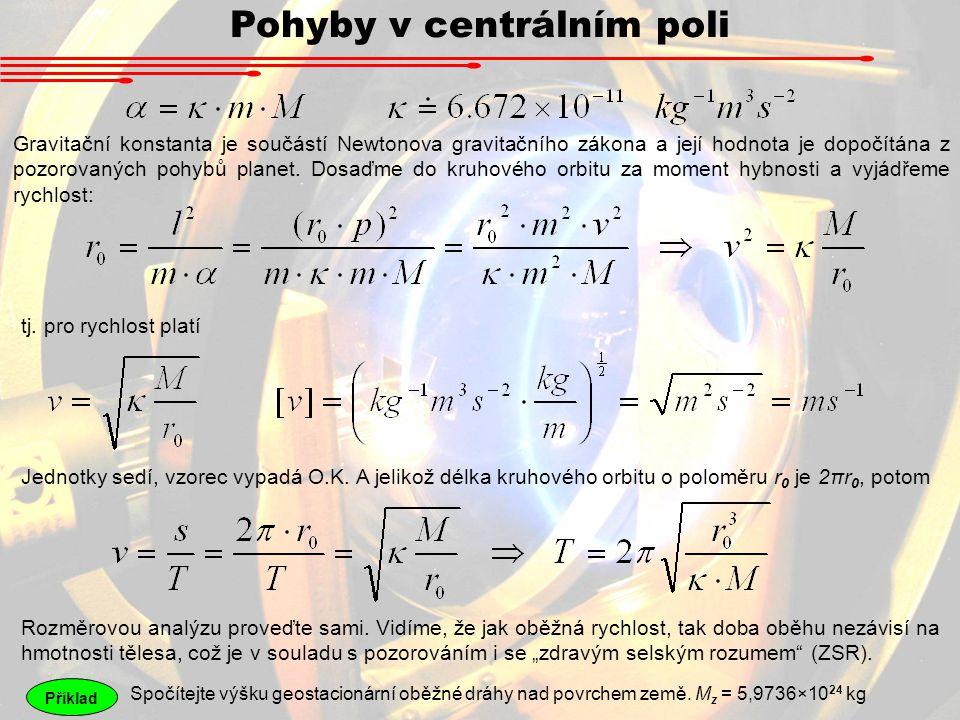 Pohyby v centrálním poli Gravitační konstanta je součástí Newtonova gravitačního zákona a její hodnota je dopočítána z pozorovaných pohybů planet. Dos