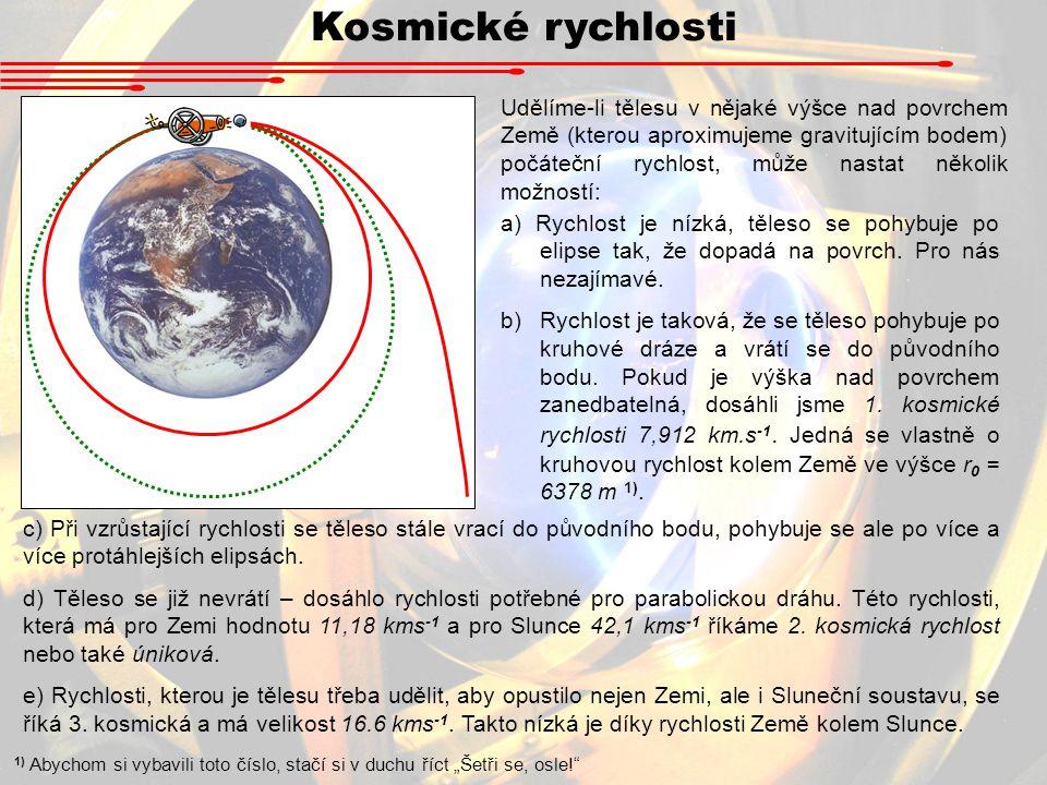 Kosmické rychlosti a) Rychlost je nízká, těleso se pohybuje po elipse tak, že dopadá na povrch. Pro nás nezajímavé. b)Rychlost je taková, že se těleso