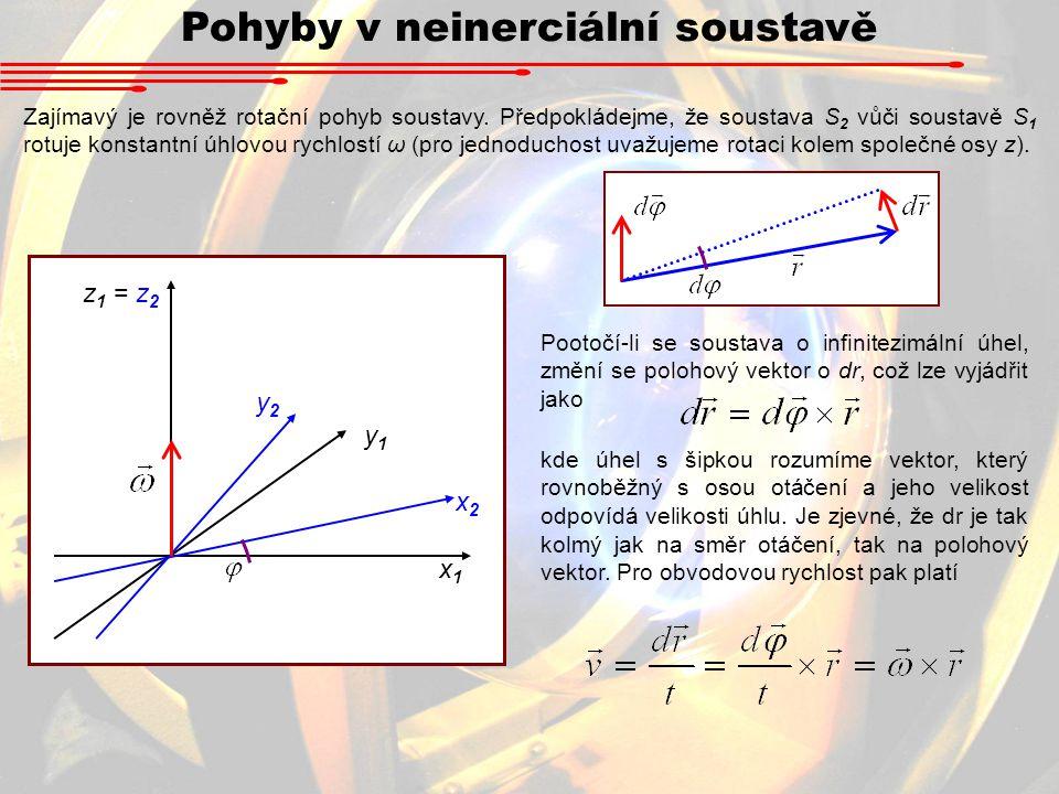 Pohyby v neinerciální soustavě Zajímavý je rovněž rotační pohyb soustavy. Předpokládejme, že soustava S 2 vůči soustavě S 1 rotuje konstantní úhlovou