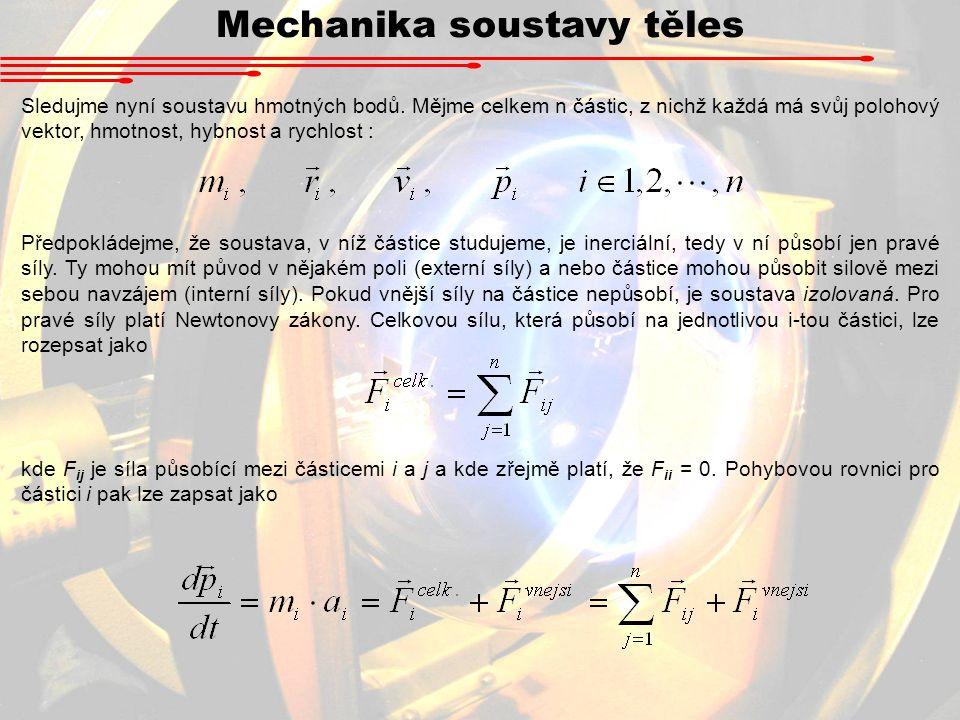 Mechanika soustavy těles Sledujme nyní soustavu hmotných bodů. Mějme celkem n částic, z nichž každá má svůj polohový vektor, hmotnost, hybnost a rychl
