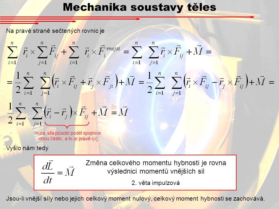 Mechanika soustavy těles Na pravé straně sečtených rovnic je nula, síla působí podél spojnice obou částic, a to je právě r i -r j Vyšlo nám tedy Změna