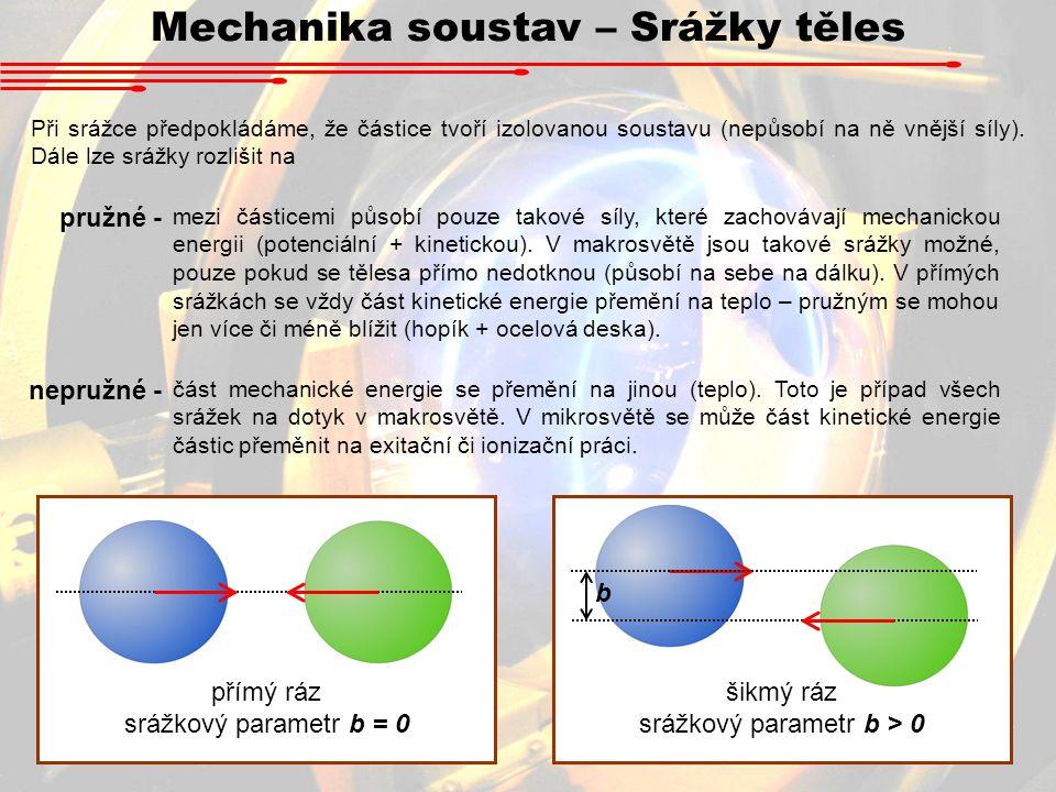 Mechanika soustav – Srážky těles Při srážce předpokládáme, že částice tvoří izolovanou soustavu (nepůsobí na ně vnější síly). Dále lze srážky rozlišit