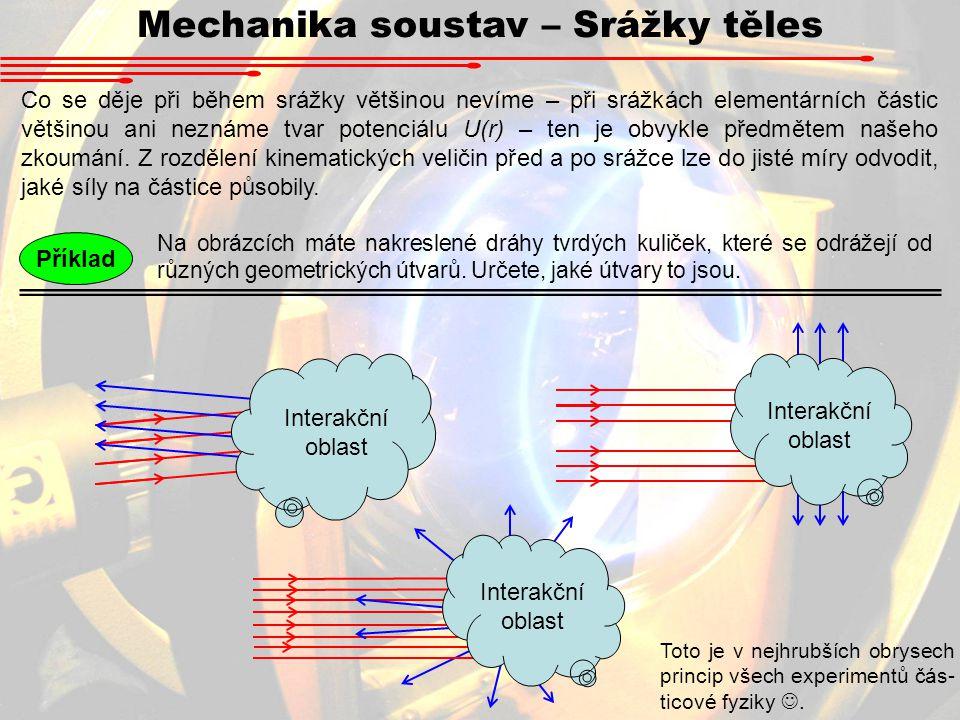 Mechanika soustav – Srážky těles Co se děje při během srážky většinou nevíme – při srážkách elementárních částic většinou ani neznáme tvar potenciálu