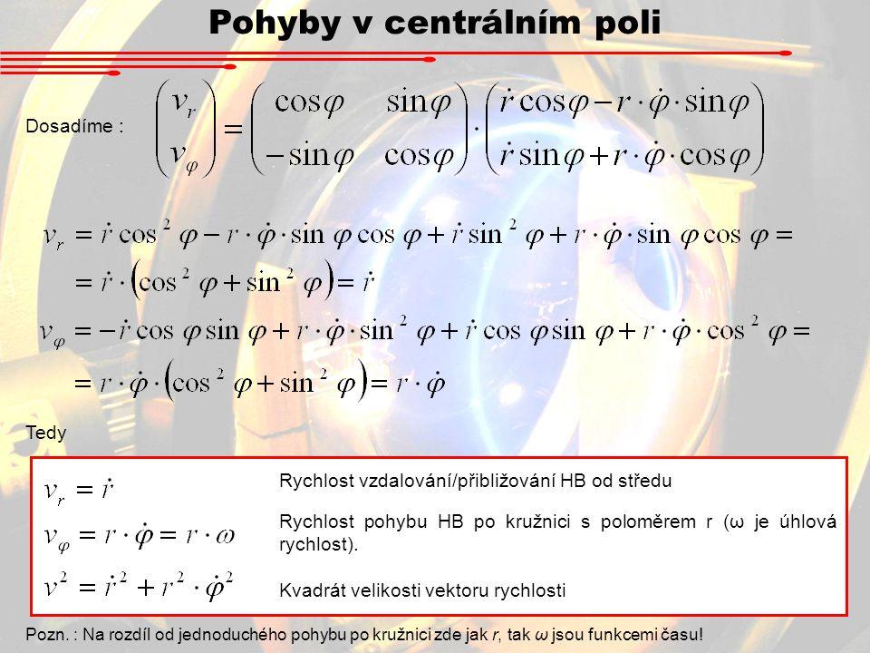 Pohyby v centrálním poli Dosadíme : Tedy Pozn. : Na rozdíl od jednoduchého pohybu po kružnici zde jak r, tak ω jsou funkcemi času! Rychlost vzdalování