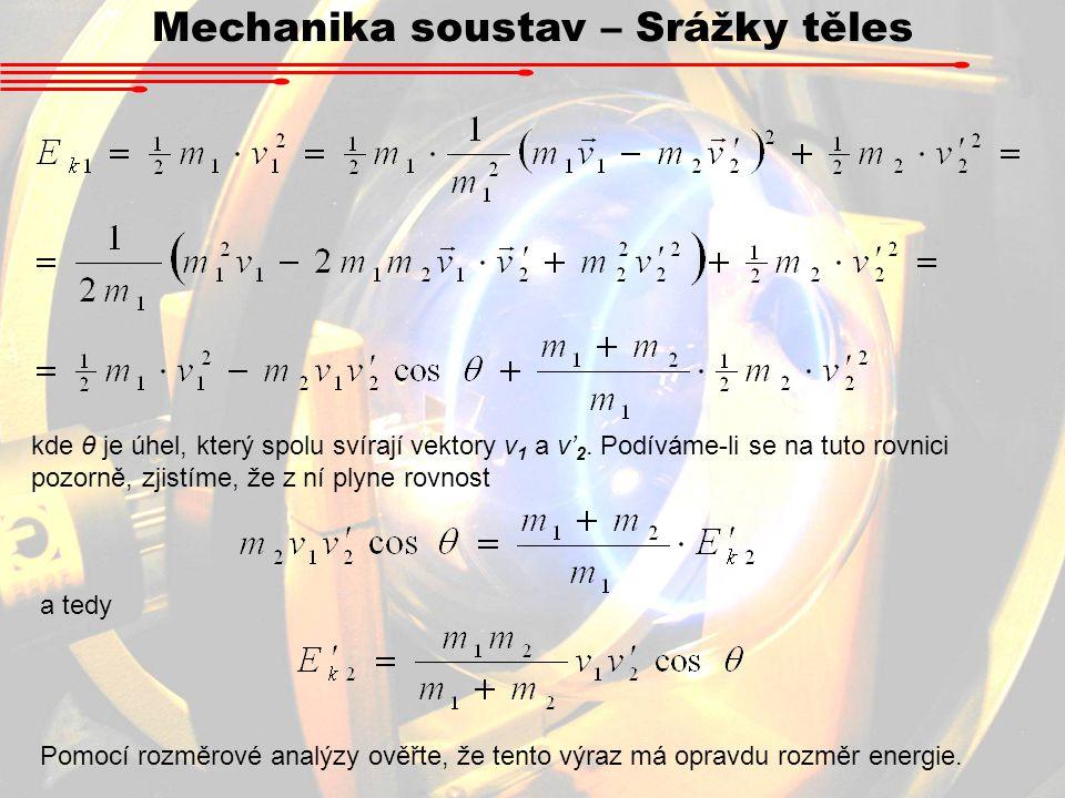 Mechanika soustav – Srážky těles kde θ je úhel, který spolu svírají vektory v 1 a v' 2. Podíváme-li se na tuto rovnici pozorně, zjistíme, že z ní plyn