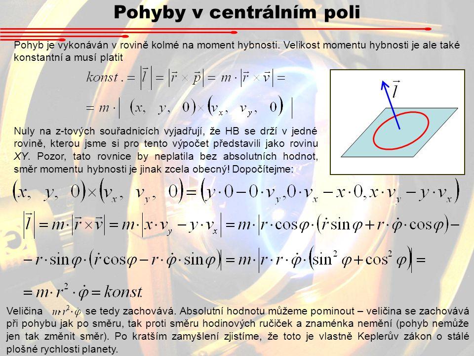 Pohyby v centrálním poli Pohyb je vykonáván v rovině kolmé na moment hybnosti. Velikost momentu hybnosti je ale také konstantní a musí platit Nuly na