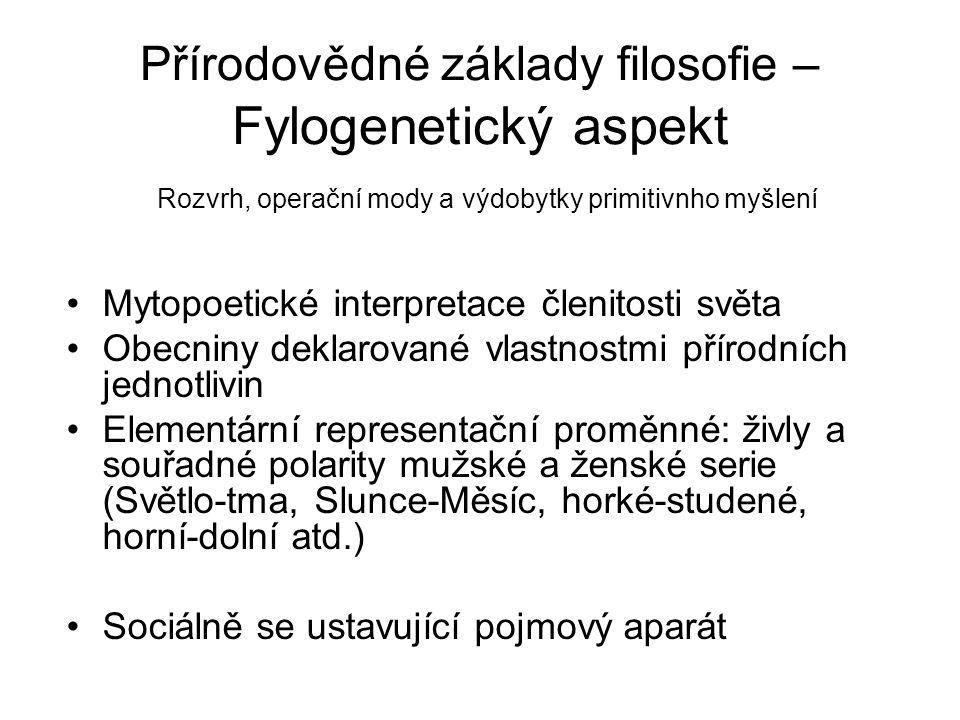 Přírodovědné základy filosofie – Fylogenetický aspekt Rozvrh, operační mody a výdobytky primitivnho myšlení Mytopoetické interpretace členitosti světa