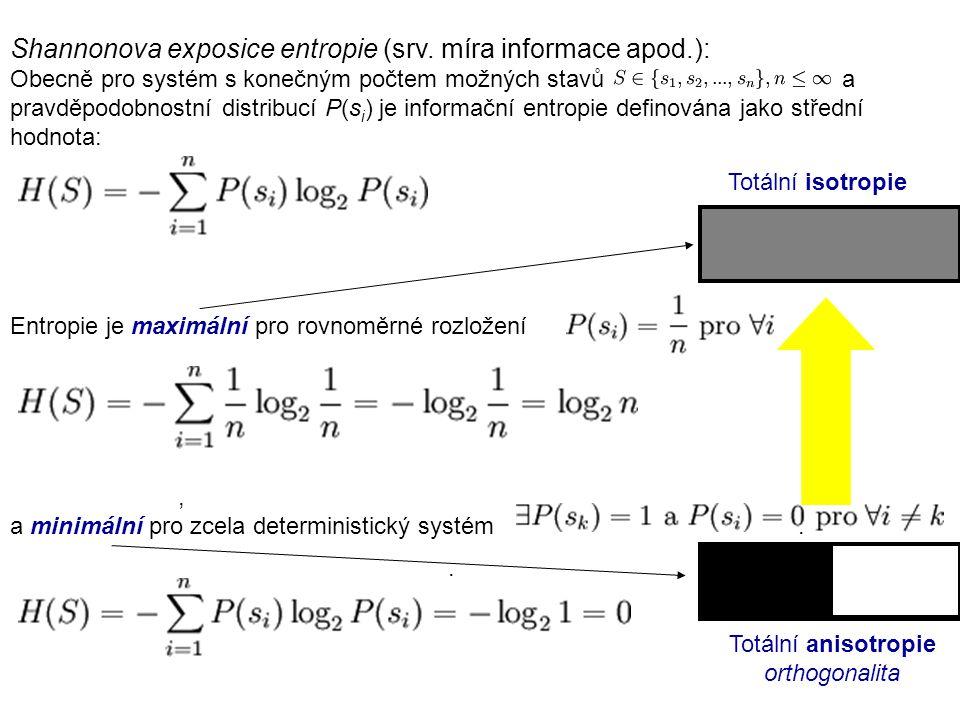 Shannonova exposice entropie (srv. míra informace apod.): Obecně pro systém s konečným počtem možných stavů a pravděpodobnostní distribucí P(s i ) je