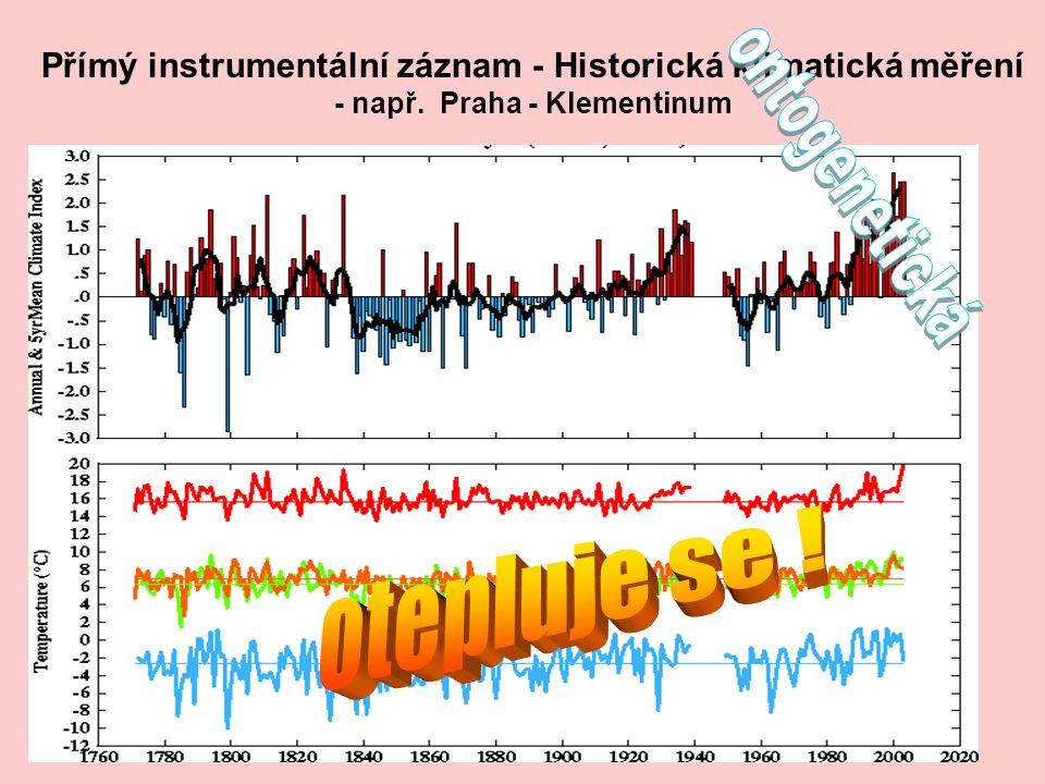 Přímý instrumentální záznam - Historická klimatická měření - např. Praha - Klementinum