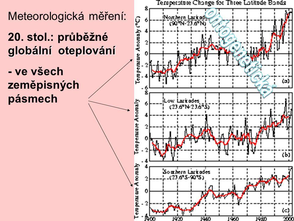 Meteorologická měření: globální oteplování 20. stol.: průběžné globální oteplování - ve všech zeměpisných pásmech
