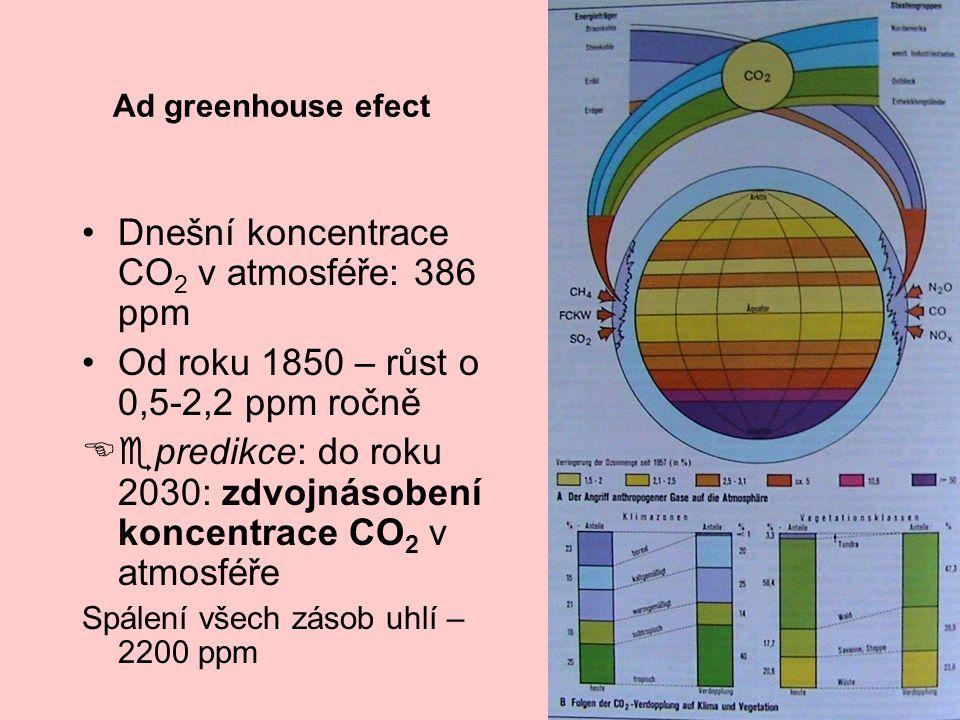 Ad greenhouse efect Dnešní koncentrace CO 2 v atmosféře: 386 ppm Od roku 1850 – růst o 0,5-2,2 ppm ročně Eepredikce: do roku 2030: zdvojnásobení konce