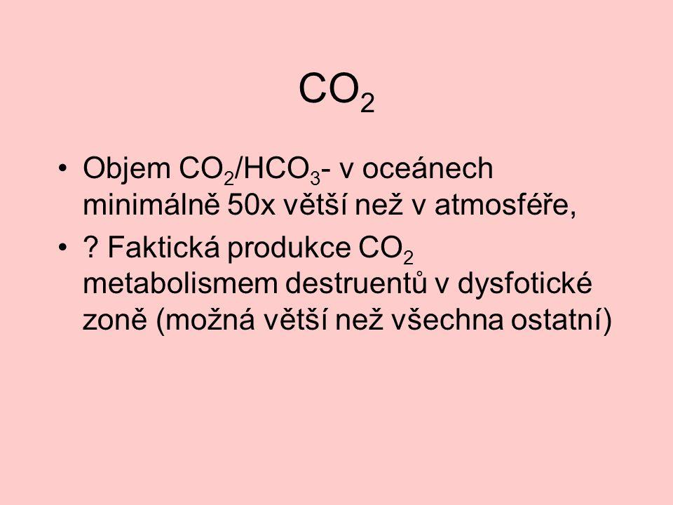 CO 2 Objem CO 2 /HCO 3 - v oceánech minimálně 50x větší než v atmosféře, ? Faktická produkce CO 2 metabolismem destruentů v dysfotické zoně (možná vět