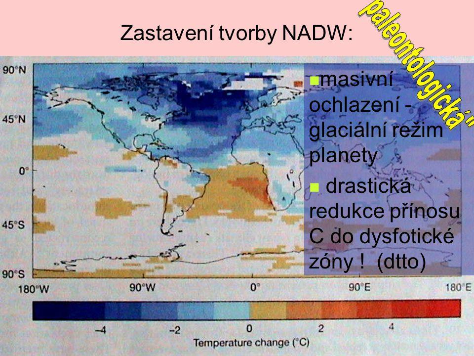 Zastavení tvorby NADW: masivní ochlazení - glaciální režim planety drastická redukce přínosu C do dysfotické zóny ! (dtto)