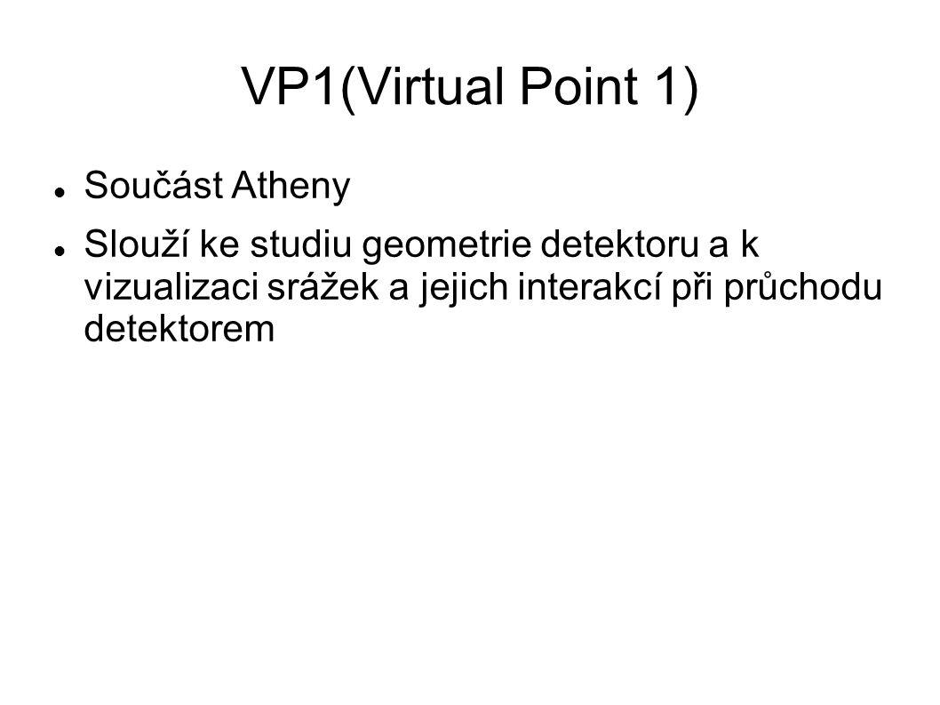 VP1(Virtual Point 1) Součást Atheny Slouží ke studiu geometrie detektoru a k vizualizaci srážek a jejich interakcí při průchodu detektorem