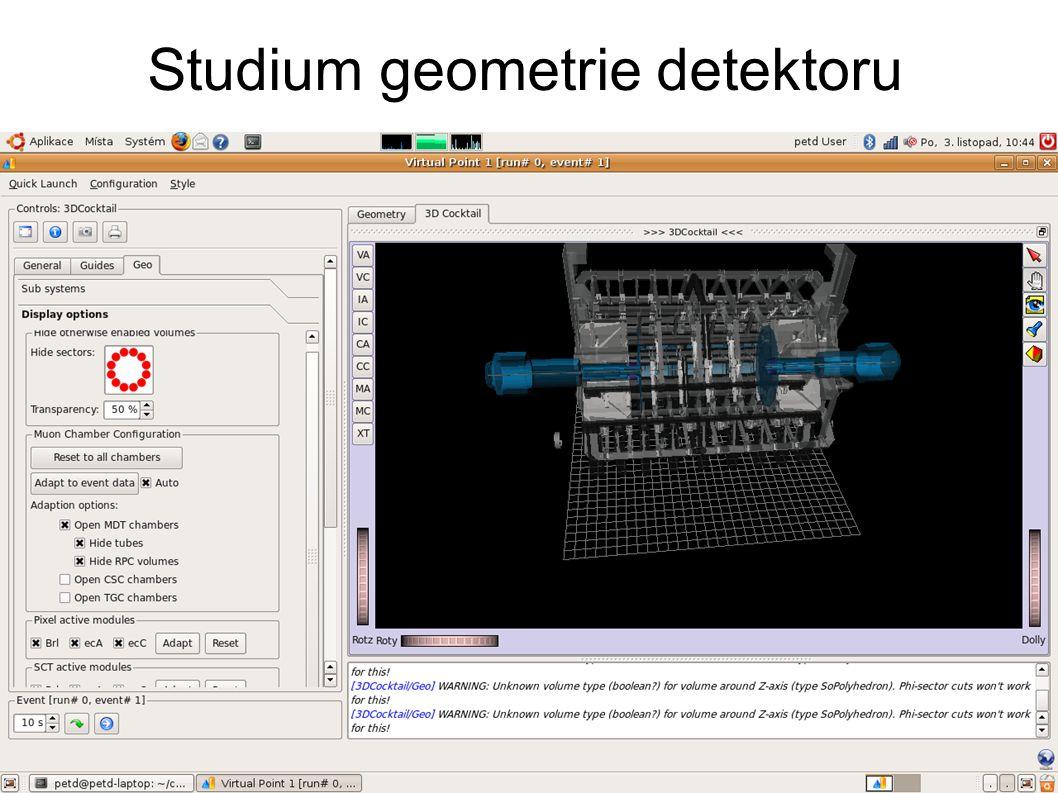 Studium geometrie detektoru