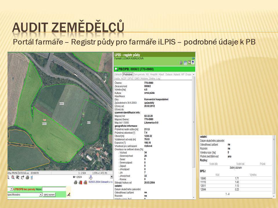 Portál farmáře – Registr půdy pro farmáře iLPIS – podrobné údaje k PB