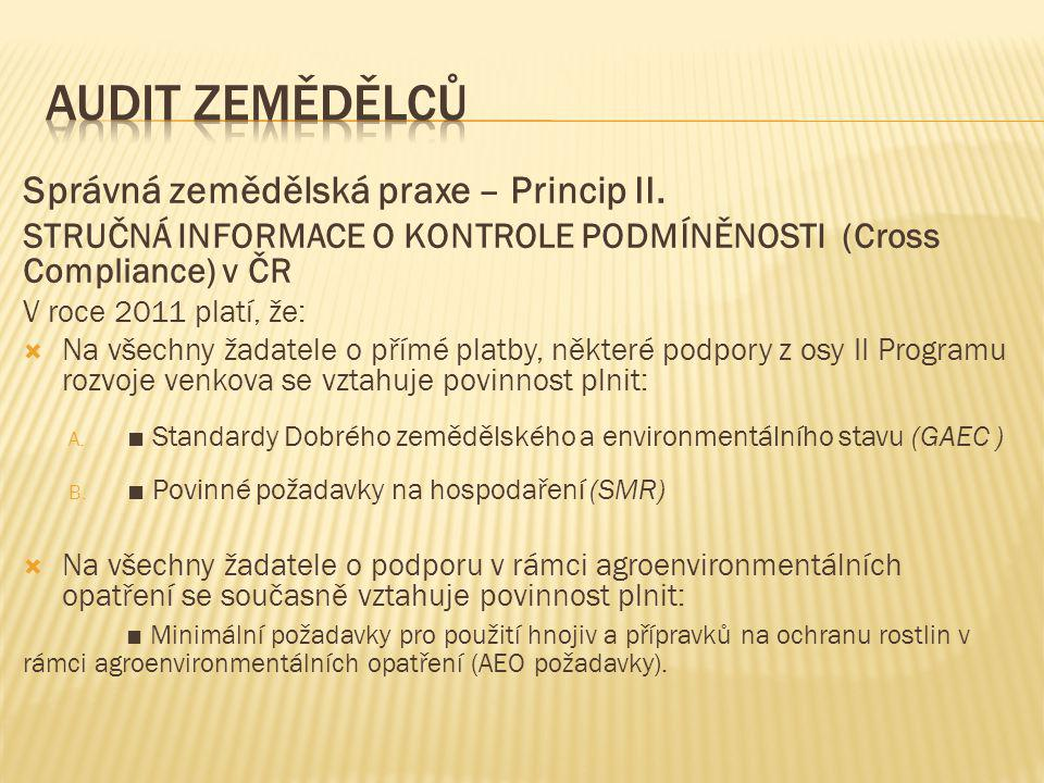 Správná zemědělská praxe – Princip II. STRUČNÁ INFORMACE O KONTROLE PODMÍNĚNOSTI (Cross Compliance) v ČR V roce 2011 platí, že:  Na všechny žadatele