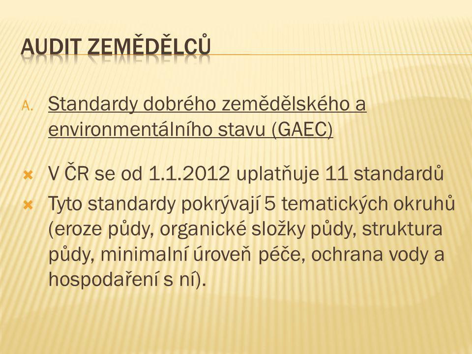 A. Standardy dobrého zemědělského a environmentálního stavu (GAEC)  V ČR se od 1.1.2012 uplatňuje 11 standardů  Tyto standardy pokrývají 5 tematický