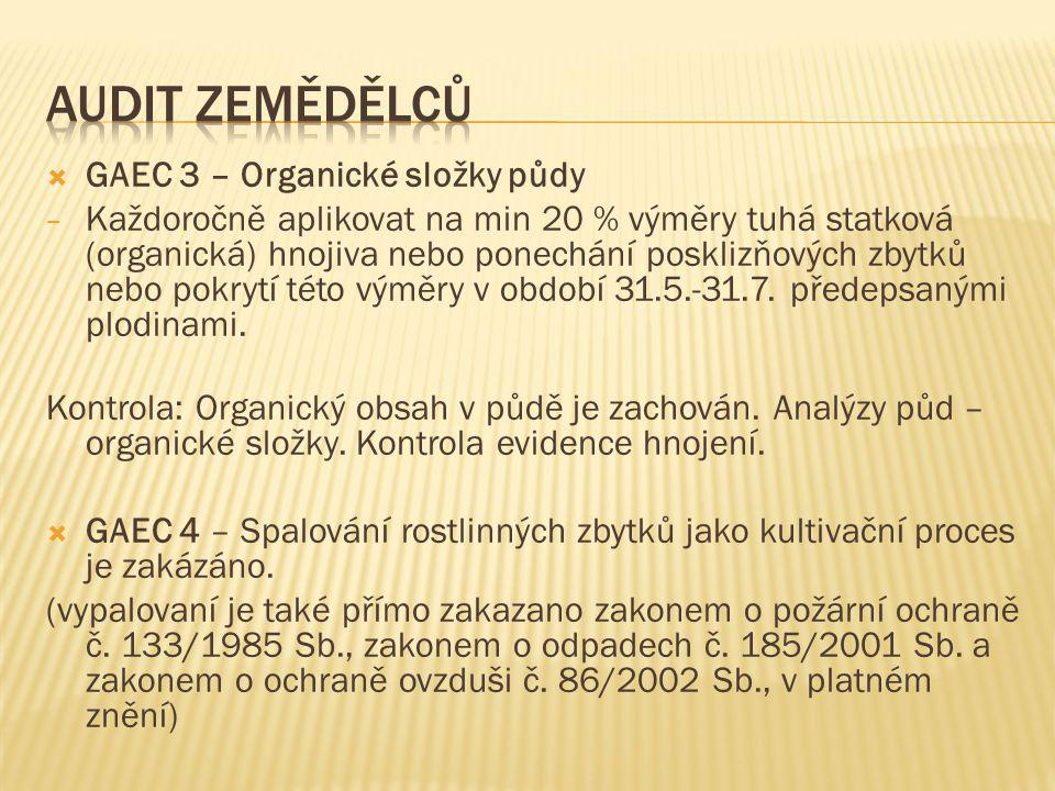  GAEC 3 – Organické složky půdy − Každoročně aplikovat na min 20 % výměry tuhá statková (organická) hnojiva nebo ponechání posklizňových zbytků nebo